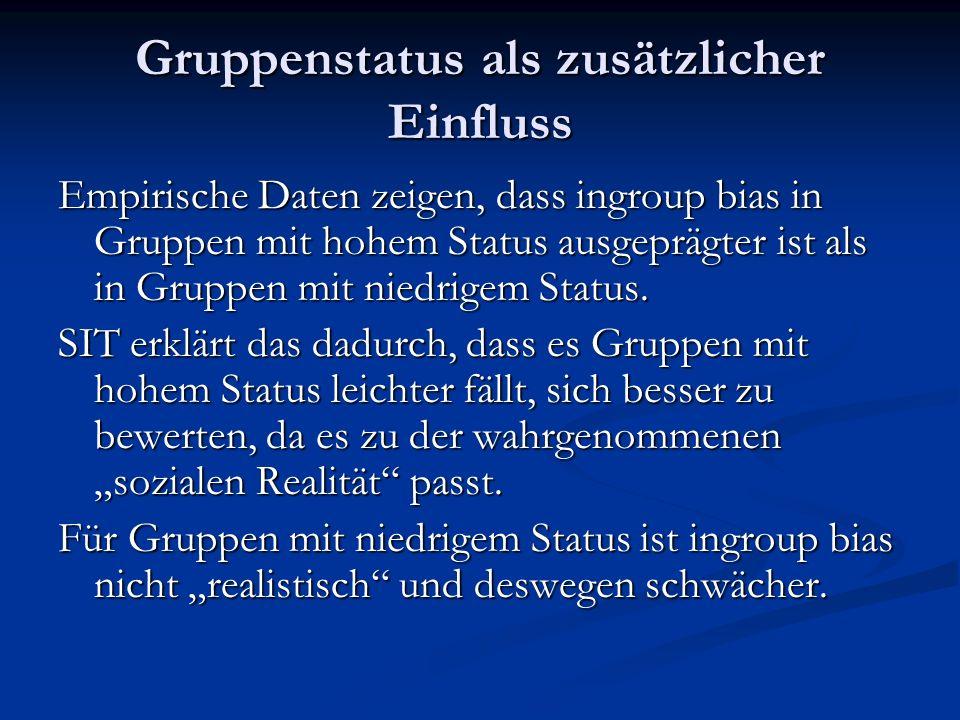 Gruppenstatus als zusätzlicher Einfluss Empirische Daten zeigen, dass ingroup bias in Gruppen mit hohem Status ausgeprägter ist als in Gruppen mit niedrigem Status.