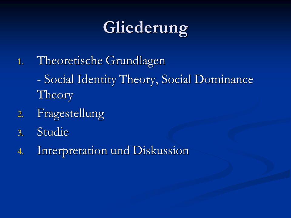 Gliederung 1.Theoretische Grundlagen - Social Identity Theory, Social Dominance Theory 2.