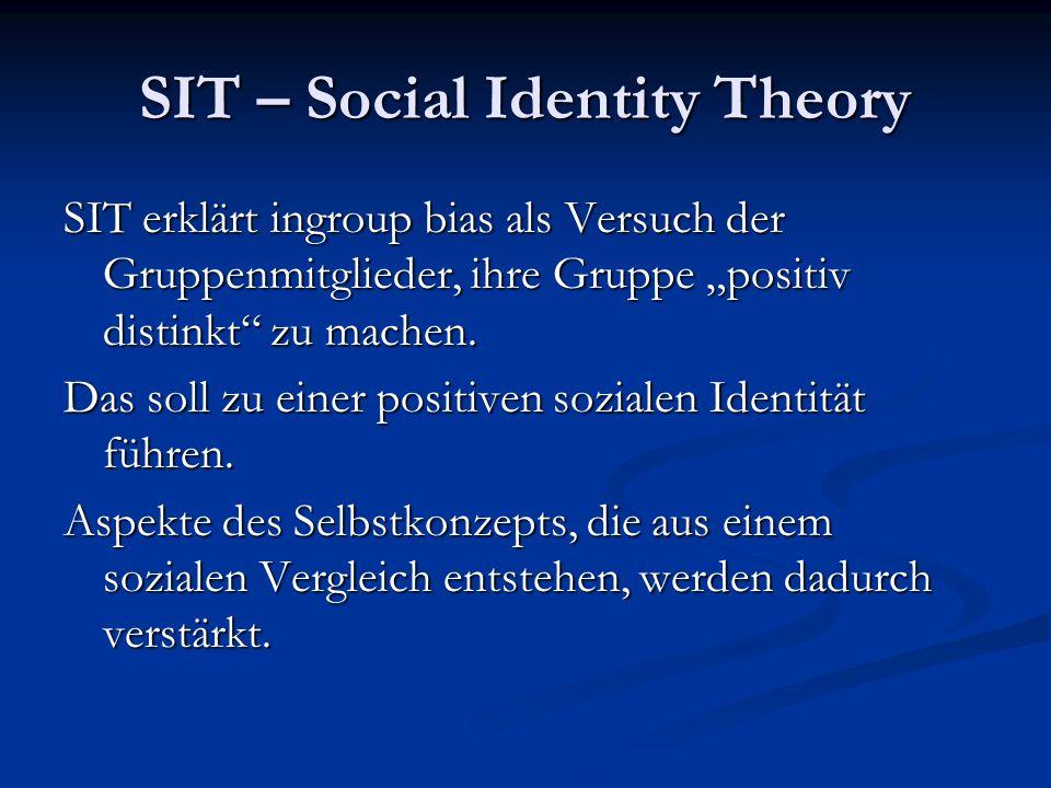 SIT – Social Identity Theory SIT erklärt ingroup bias als Versuch der Gruppenmitglieder, ihre Gruppe positiv distinkt zu machen.