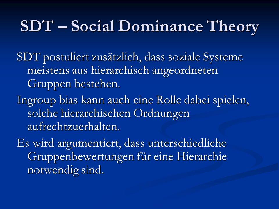 SDT – Social Dominance Theory SDT postuliert zusätzlich, dass soziale Systeme meistens aus hierarchisch angeordneten Gruppen bestehen.