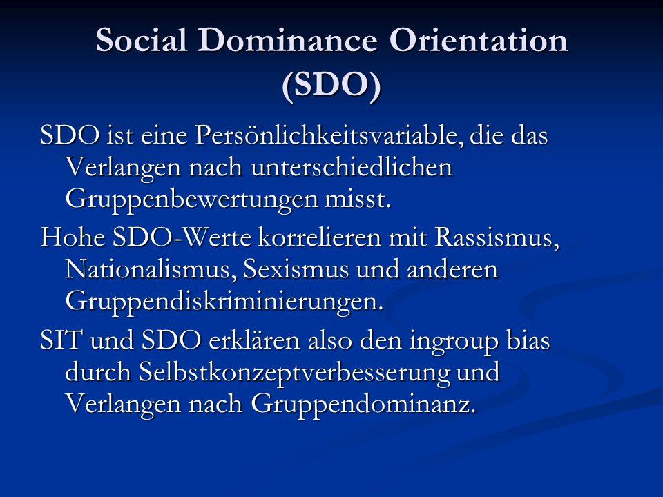 Social Dominance Orientation (SDO) SDO ist eine Persönlichkeitsvariable, die das Verlangen nach unterschiedlichen Gruppenbewertungen misst.