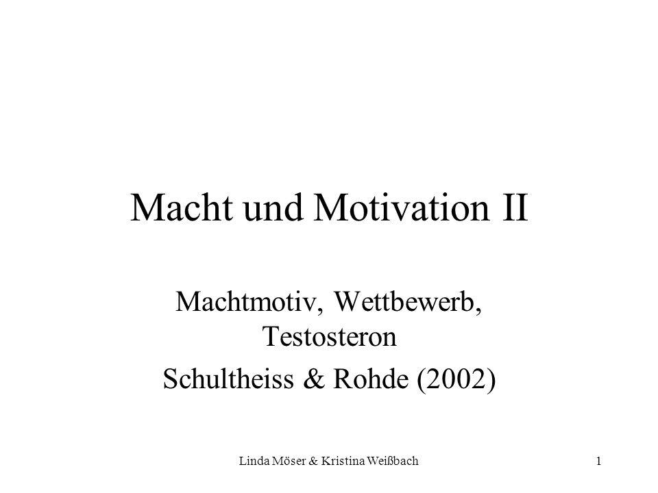 Linda Möser & Kristina Weißbach12 –Haupt-Hypothese: Gewinnen & hohe Machtmotivation & niedrige Inhibition => Testosteronanstieg Testosteronveränderungen von T3 (direkt vor dem Wettbewerb) zu T4, T5 und T6 betrachtet Signifikanz von T3 zu T5 (15 min nach dem Wettbewerb)