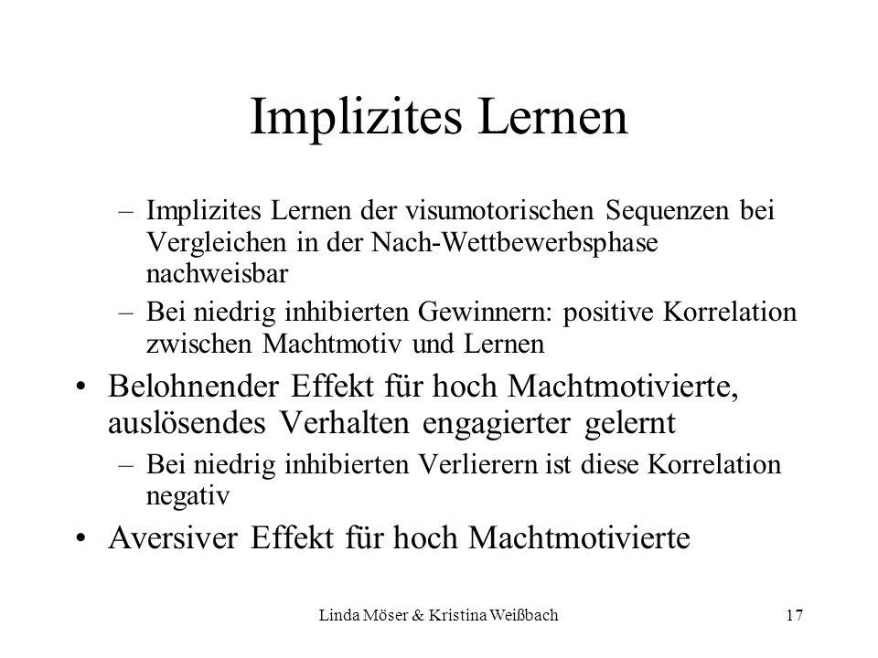Linda Möser & Kristina Weißbach17 Implizites Lernen –Implizites Lernen der visumotorischen Sequenzen bei Vergleichen in der Nach-Wettbewerbsphase nach