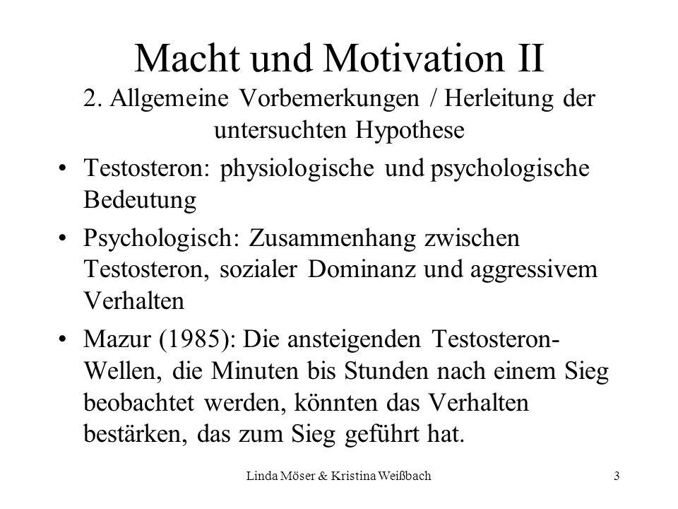 Linda Möser & Kristina Weißbach3 Macht und Motivation II 2. Allgemeine Vorbemerkungen / Herleitung der untersuchten Hypothese Testosteron: physiologis
