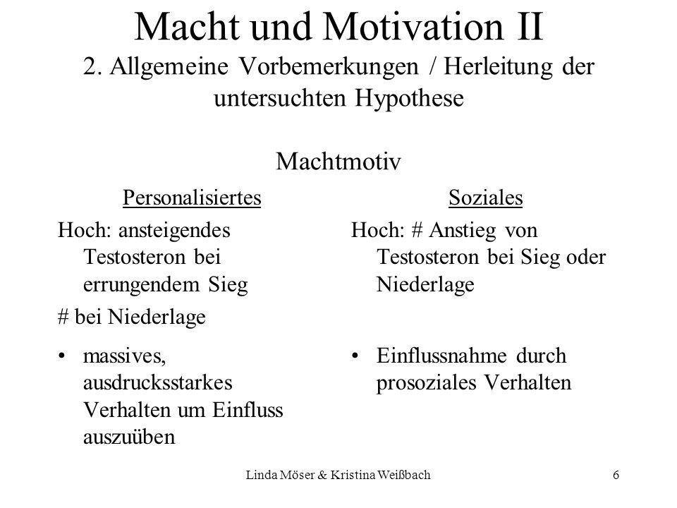 Linda Möser & Kristina Weißbach6 Macht und Motivation II 2. Allgemeine Vorbemerkungen / Herleitung der untersuchten Hypothese Machtmotiv Personalisier