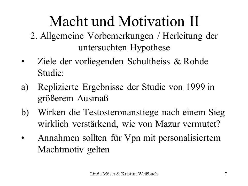 Linda Möser & Kristina Weißbach18 Testosteron/Implizites Lernen Testosteronanstieg ist mit implizitem Lernen korreliert bei niedrig Inhibierten Testosteronanstieg ist (als Belohnungseffekt?) für besseres implizites Lernen unter den Gewinnern verantwortlich (?)
