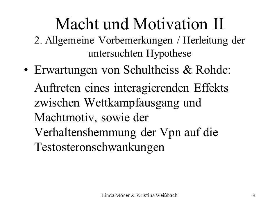 Linda Möser & Kristina Weißbach10 –UV: Gewinnen/Verlieren Machtmotivation Inhibition –AV: Testosteronspiegel Implizites Lernen