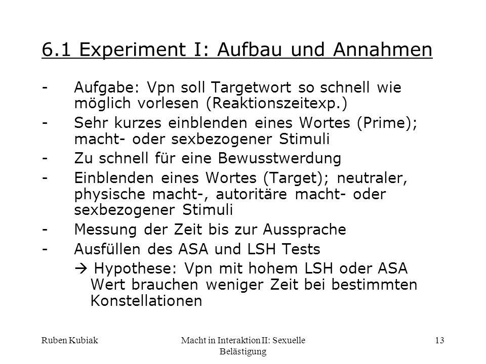 Ruben KubiakMacht in Interaktion II: Sexuelle Belästigung 13 6.1 Experiment I: Aufbau und Annahmen -Aufgabe: Vpn soll Targetwort so schnell wie möglic