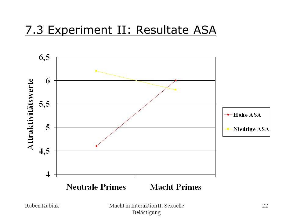 Ruben KubiakMacht in Interaktion II: Sexuelle Belästigung 22 7.3 Experiment II: Resultate ASA