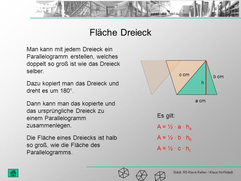 Städt. RS Kleve Kellen / Klaus Hoffstadt Fläche Dreieck Man kann mit jedem Dreieck ein Parallelogramm erstellen, welches doppelt so groß ist wie das D
