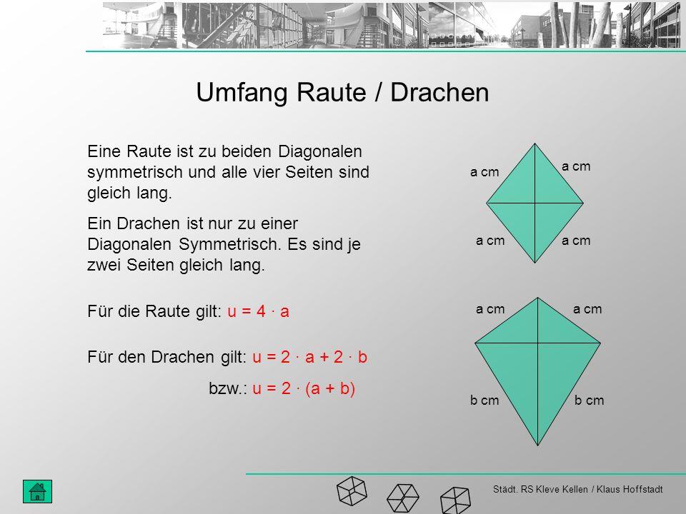 Städt. RS Kleve Kellen / Klaus Hoffstadt Umfang Raute / Drachen Eine Raute ist zu beiden Diagonalen symmetrisch und alle vier Seiten sind gleich lang.