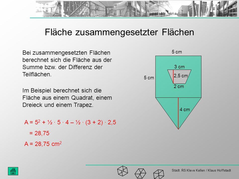 Städt. RS Kleve Kellen / Klaus Hoffstadt Fläche zusammengesetzter Flächen 5 cm 3 cm 2 cm Bei zusammengesetzten Flächen berechnet sich die Fläche aus d