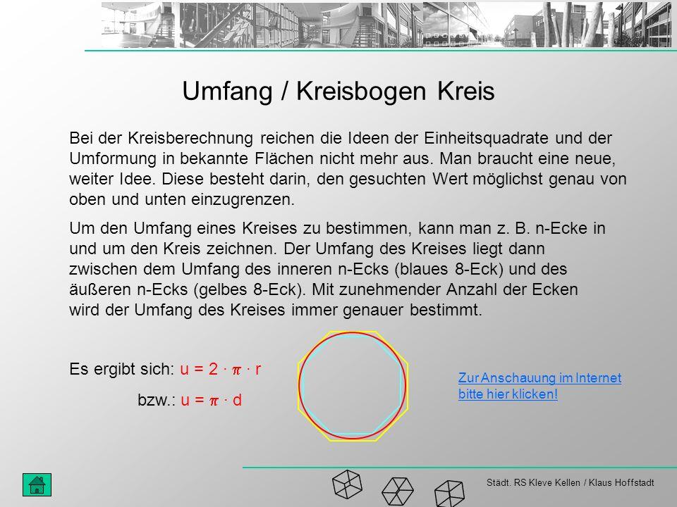 Städt. RS Kleve Kellen / Klaus Hoffstadt Umfang / Kreisbogen Kreis Bei der Kreisberechnung reichen die Ideen der Einheitsquadrate und der Umformung in