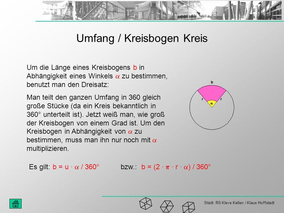 Städt. RS Kleve Kellen / Klaus Hoffstadt Umfang / Kreisbogen Kreis Um die Länge eines Kreisbogens b in Abhängigkeit eines Winkels zu bestimmen, benutz