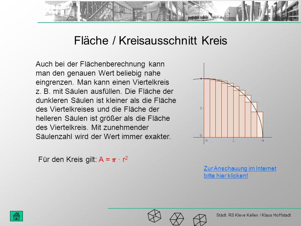 Städt. RS Kleve Kellen / Klaus Hoffstadt Fläche / Kreisausschnitt Kreis Auch bei der Flächenberechnung kann man den genauen Wert beliebig nahe eingren