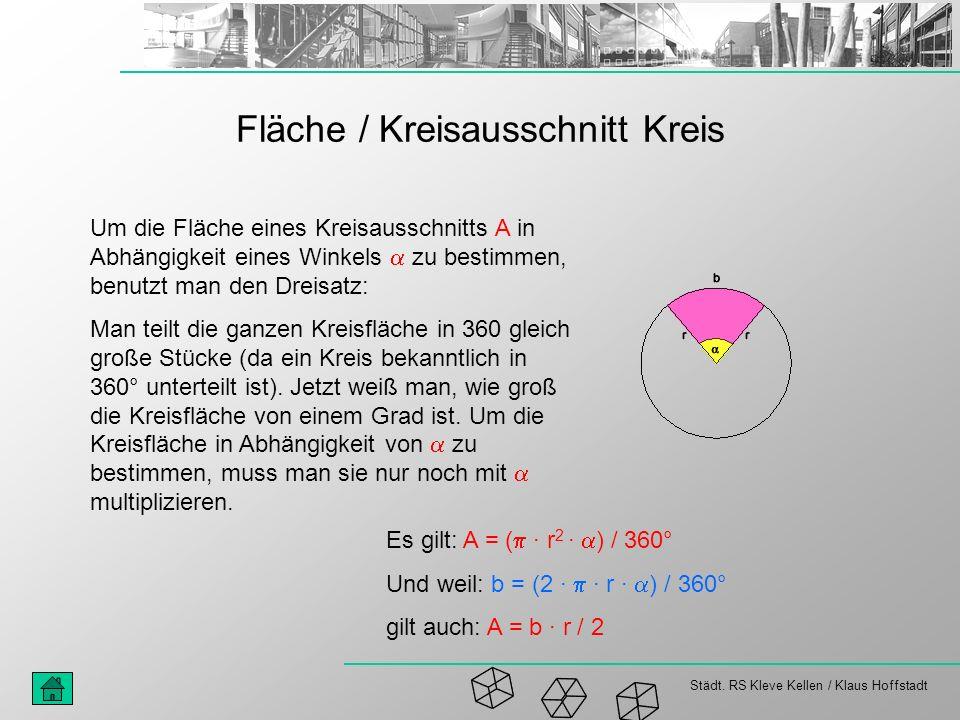 Städt. RS Kleve Kellen / Klaus Hoffstadt Fläche / Kreisausschnitt Kreis Um die Fläche eines Kreisausschnitts A in Abhängigkeit eines Winkels zu bestim