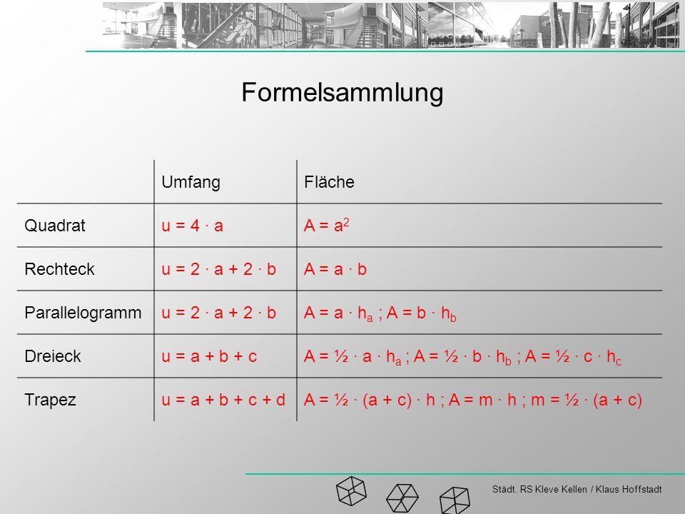 Städt. RS Kleve Kellen / Klaus Hoffstadt Formelsammlung UmfangFläche Quadratu = 4 · aA = a 2 Rechtecku = 2 · a + 2 · bA = a · b Parallelogrammu = 2 ·