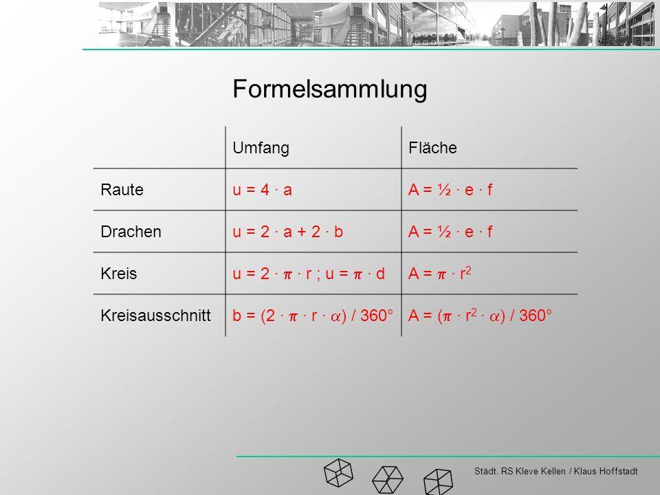 Städt. RS Kleve Kellen / Klaus Hoffstadt Formelsammlung UmfangFläche Rauteu = 4 · aA = ½ · e · f Drachenu = 2 · a + 2 · bA = ½ · e · f Kreis u = 2 · ·