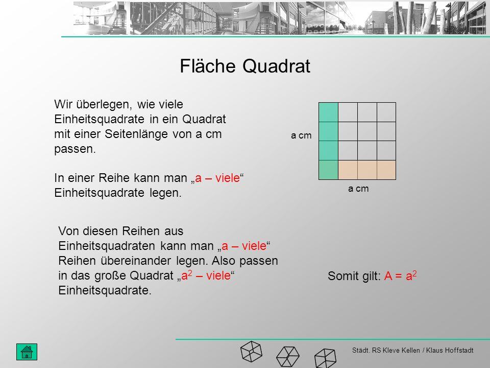 Städt. RS Kleve Kellen / Klaus Hoffstadt Fläche Quadrat Wir überlegen, wie viele Einheitsquadrate in ein Quadrat mit einer Seitenlänge von a cm passen