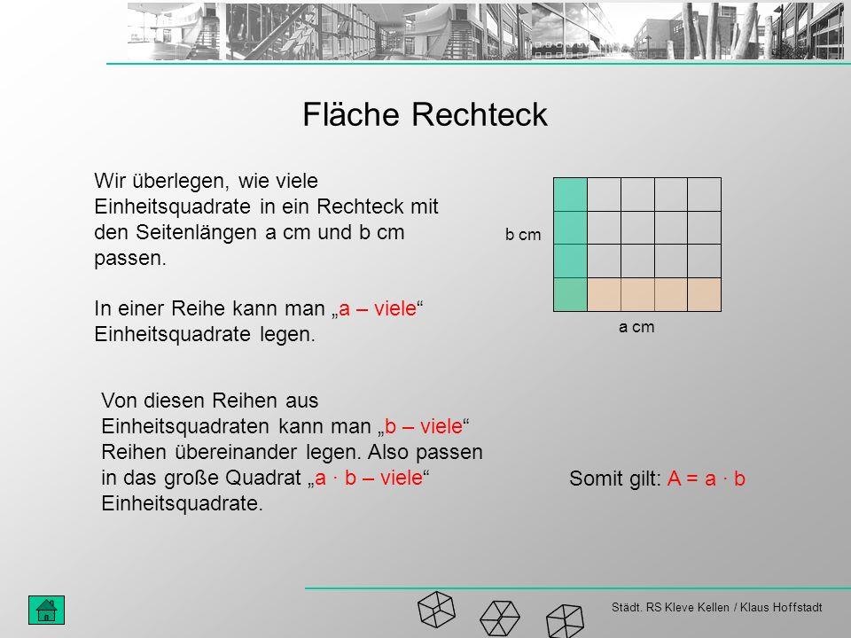 Städt. RS Kleve Kellen / Klaus Hoffstadt Fläche Rechteck Wir überlegen, wie viele Einheitsquadrate in ein Rechteck mit den Seitenlängen a cm und b cm