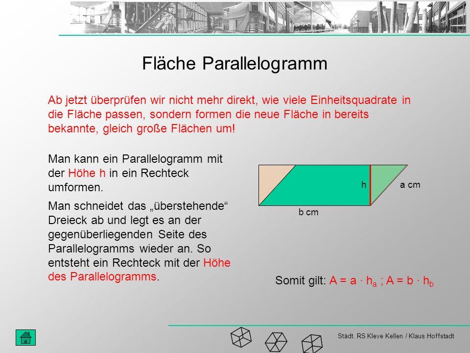 Städt. RS Kleve Kellen / Klaus Hoffstadt Fläche Parallelogramm Ab jetzt überprüfen wir nicht mehr direkt, wie viele Einheitsquadrate in die Fläche pas