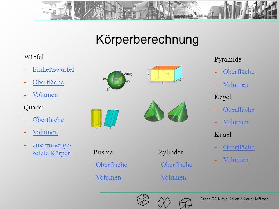Städt. RS Kleve Kellen / Klaus Hoffstadt Körperberechnung Pyramide -OberflächeOberfläche -VolumenVolumen Kegel -OberflächeOberfläche -VolumenVolumen K