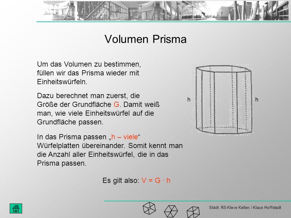 Städt. RS Kleve Kellen / Klaus Hoffstadt Volumen Prisma Um das Volumen zu bestimmen, füllen wir das Prisma wieder mit Einheitswürfeln. Dazu berechnet