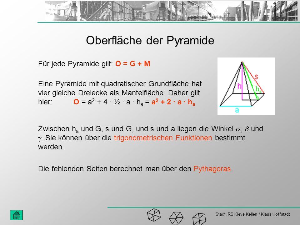 Städt. RS Kleve Kellen / Klaus Hoffstadt Oberfläche der Pyramide haha Für jede Pyramide gilt: O = G + M Eine Pyramide mit quadratischer Grundfläche ha