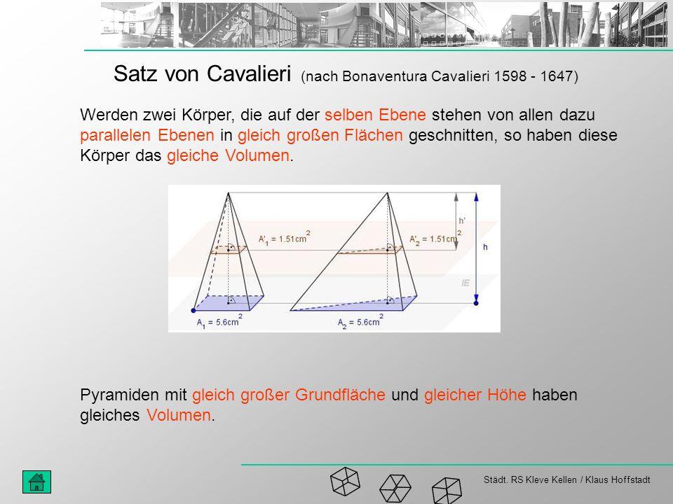 Städt. RS Kleve Kellen / Klaus Hoffstadt Satz von Cavalieri (nach Bonaventura Cavalieri 1598 - 1647) Werden zwei Körper, die auf der selben Ebene steh