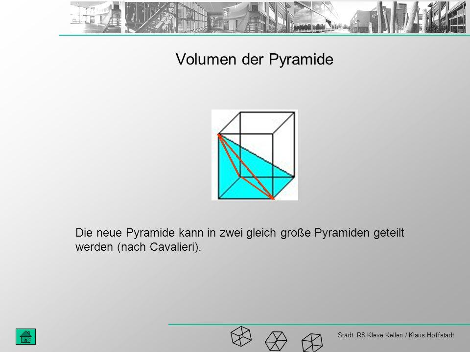 Städt. RS Kleve Kellen / Klaus Hoffstadt Volumen der Pyramide Die neue Pyramide kann in zwei gleich große Pyramiden geteilt werden (nach Cavalieri).