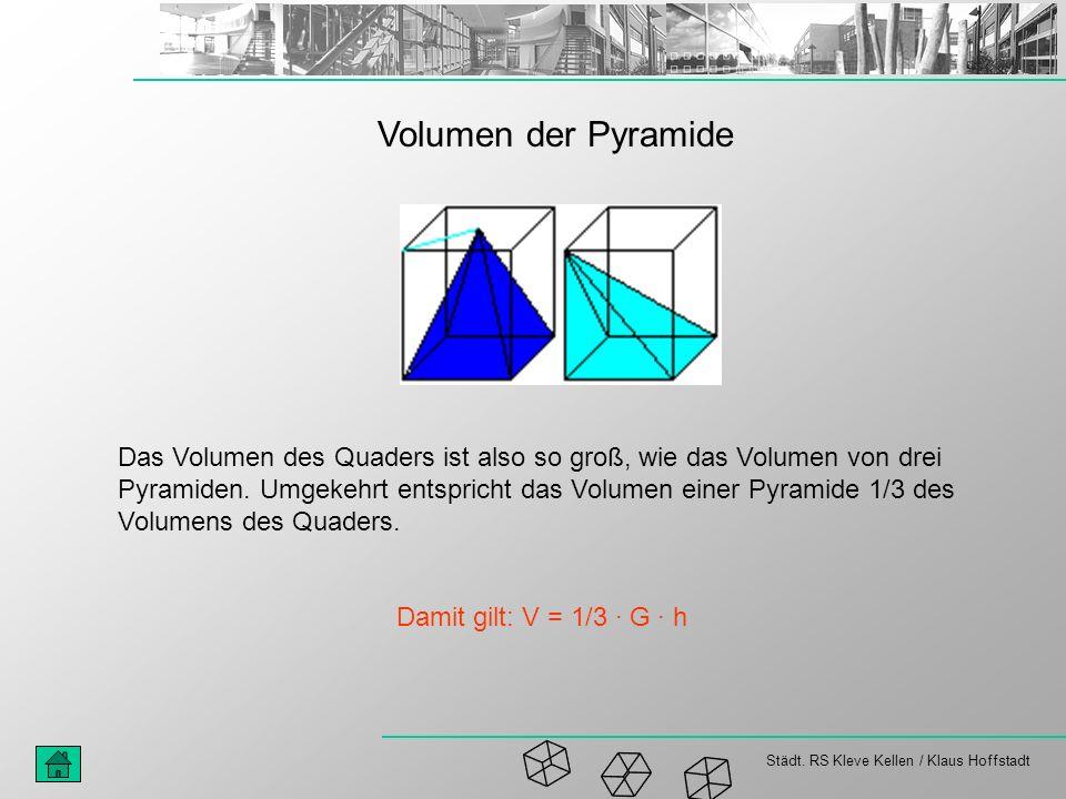 Städt. RS Kleve Kellen / Klaus Hoffstadt Volumen der Pyramide Das Volumen des Quaders ist also so groß, wie das Volumen von drei Pyramiden. Umgekehrt