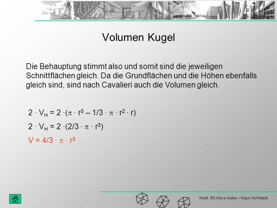 Städt. RS Kleve Kellen / Klaus Hoffstadt Volumen Kugel Die Behauptung stimmt also und somit sind die jeweiligen Schnittflächen gleich. Da die Grundflä
