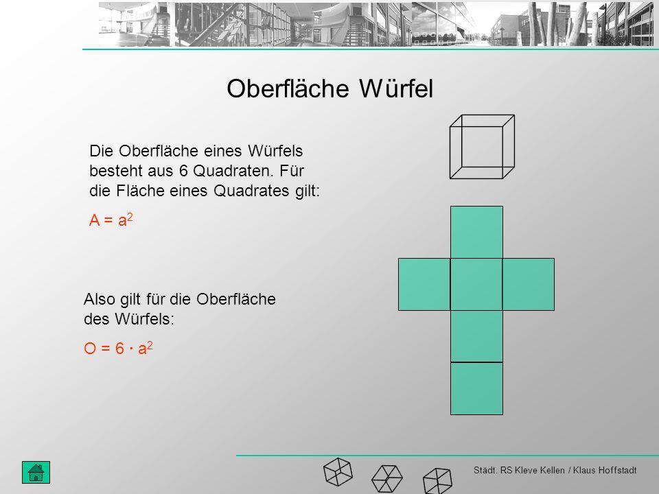 Städt. RS Kleve Kellen / Klaus Hoffstadt Oberfläche Würfel Die Oberfläche eines Würfels besteht aus 6 Quadraten. Für die Fläche eines Quadrates gilt: