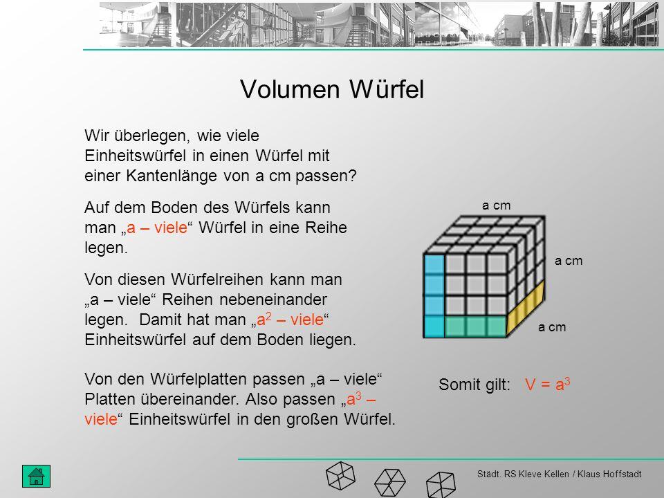 Städt. RS Kleve Kellen / Klaus Hoffstadt Volumen Würfel Wir überlegen, wie viele Einheitswürfel in einen Würfel mit einer Kantenlänge von a cm passen?