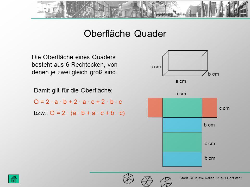 Städt. RS Kleve Kellen / Klaus Hoffstadt Oberfläche Quader Die Oberfläche eines Quaders besteht aus 6 Rechtecken, von denen je zwei gleich groß sind.