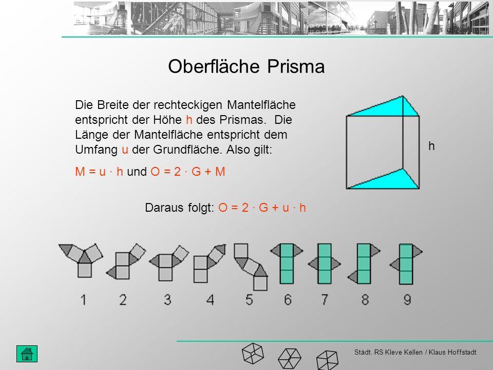 Städt. RS Kleve Kellen / Klaus Hoffstadt Oberfläche Prisma Die Breite der rechteckigen Mantelfläche entspricht der Höhe h des Prismas. Die Länge der M
