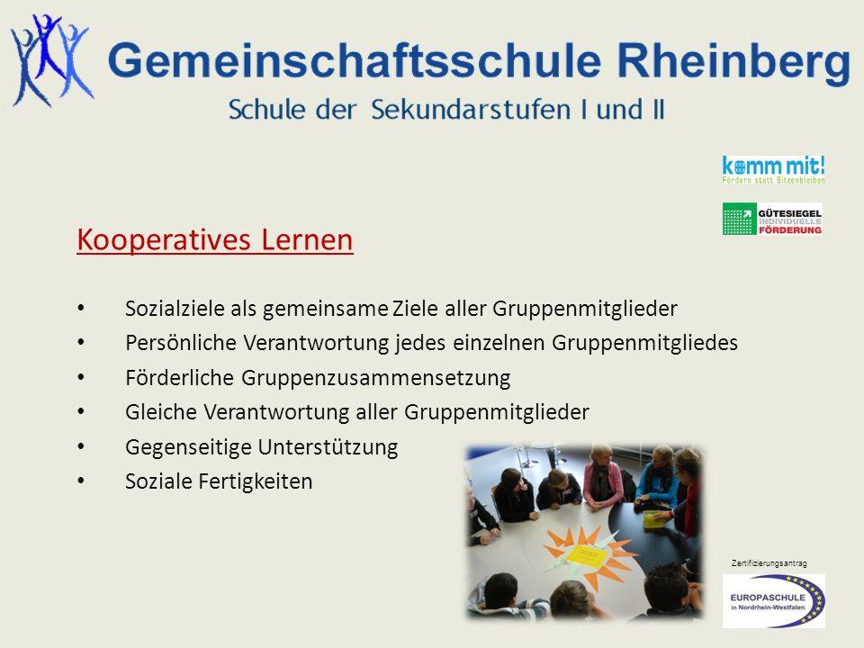 Zertifizierungsantrag Kooperatives Lernen Sozialziele als gemeinsame Ziele aller Gruppenmitglieder Persönliche Verantwortung jedes einzelnen Gruppenmi