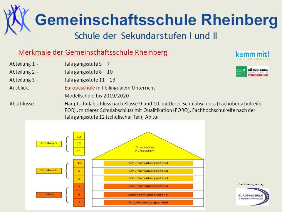 Zertifizierungsantrag Merkmale der Gemeinschaftsschule Rheinberg Abteilung 1 -Jahrgangsstufe 5 – 7 Abteilung 2-Jahrgangsstufe 8 – 10 Abteilung 3-Jahrg