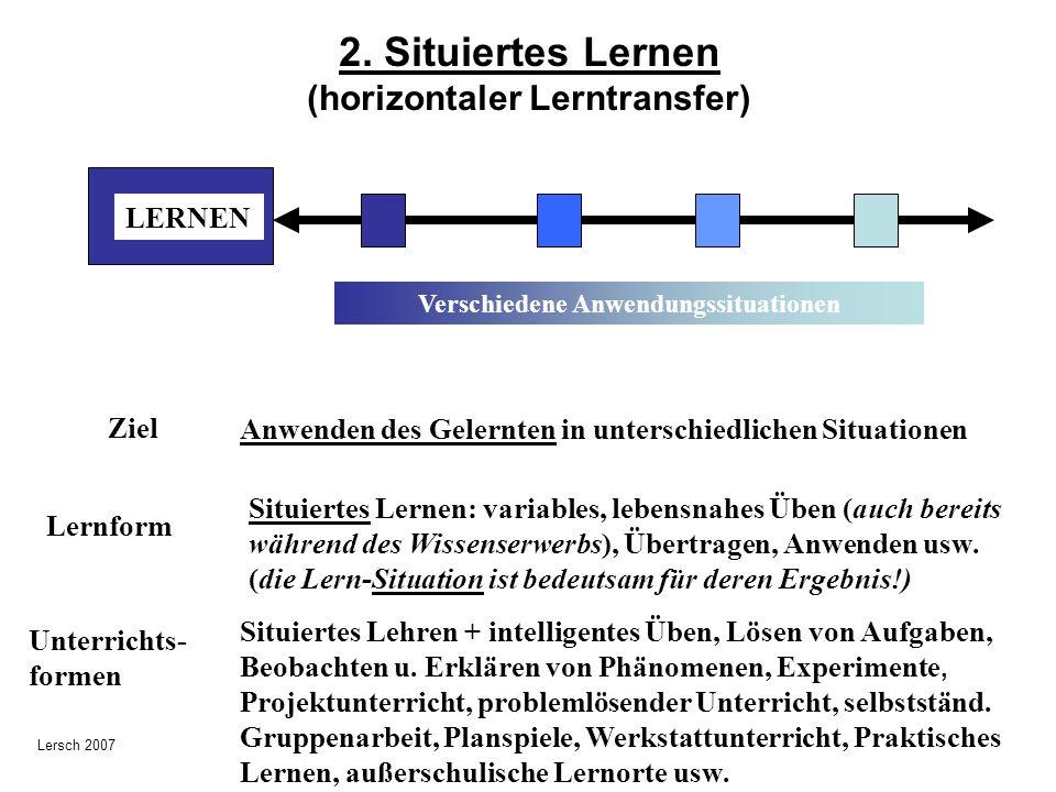 2. Situiertes Lernen (horizontaler Lerntransfer) LERNEN Verschiedene Anwendungssituationen Ziel Anwenden des Gelernten in unterschiedlichen Situatione