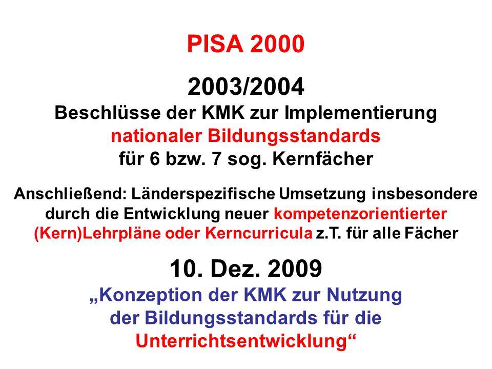 2003/2004 Beschlüsse der KMK zur Implementierung nationaler Bildungsstandards für 6 bzw. 7 sog. Kernfächer PISA 2000 Anschließend: Länderspezifische U