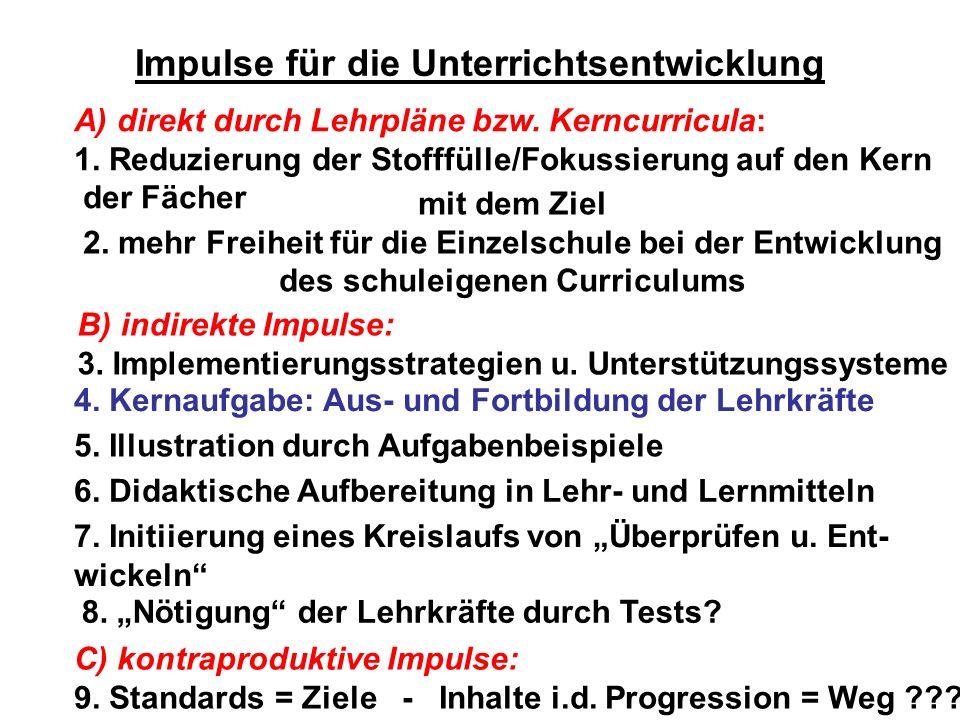 Impulse für die Unterrichtsentwicklung A) direkt durch Lehrpläne bzw. Kerncurricula: 1. Reduzierung der Stofffülle/Fokussierung auf den Kern der Fäche