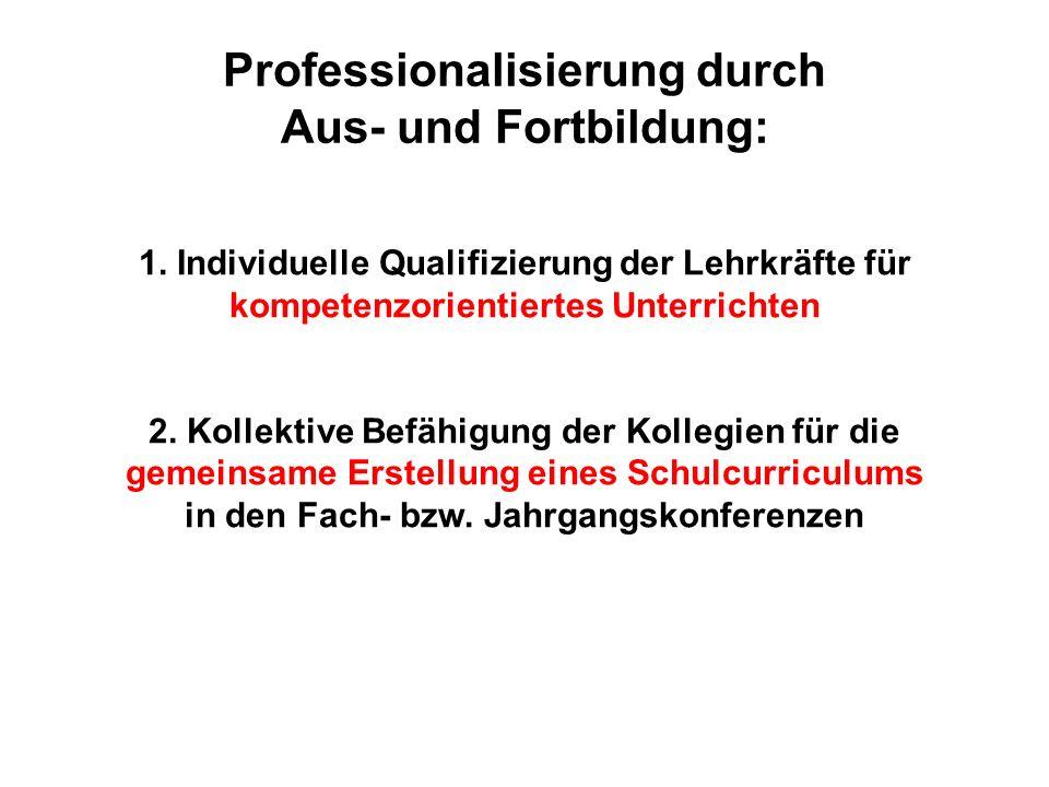 Professionalisierung durch Aus- und Fortbildung: 1. Individuelle Qualifizierung der Lehrkräfte für kompetenzorientiertes Unterrichten 2. Kollektive Be