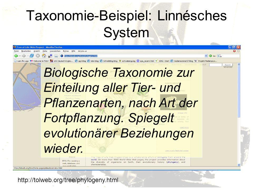 Taxonomie-Beispiel: Linnésches System http://tolweb.org/tree/phylogeny.html Biologische Taxonomie zur Einteilung aller Tier- und Pflanzenarten, nach Art der Fortpflanzung.