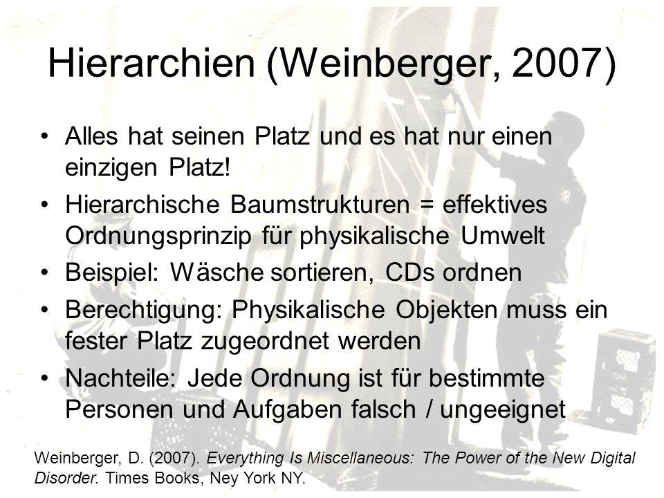 Hierarchien (Weinberger, 2007) Alles hat seinen Platz und es hat nur einen einzigen Platz.