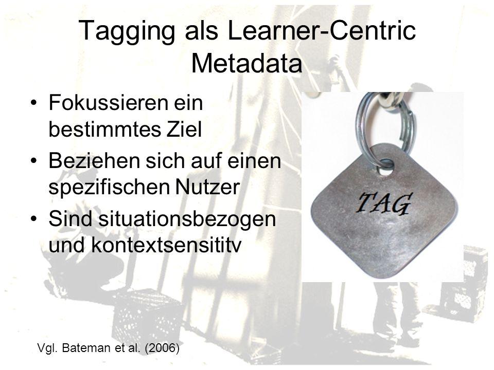 Tagging als Learner-Centric Metadata Fokussieren ein bestimmtes Ziel Beziehen sich auf einen spezifischen Nutzer Sind situationsbezogen und kontextsensititv Vgl.