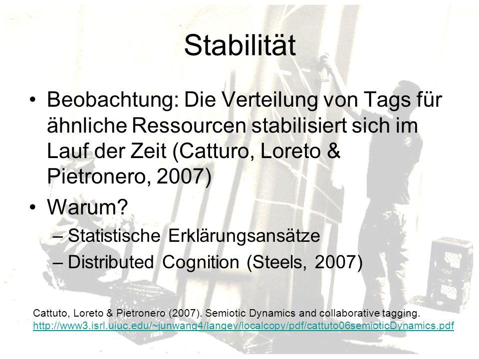 Stabilität Beobachtung: Die Verteilung von Tags für ähnliche Ressourcen stabilisiert sich im Lauf der Zeit (Catturo, Loreto & Pietronero, 2007) Warum.