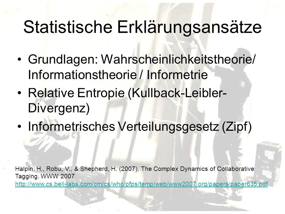 Statistische Erklärungsansätze Grundlagen: Wahrscheinlichkeitstheorie/ Informationstheorie / Informetrie Relative Entropie (Kullback-Leibler- Divergenz) Informetrisches Verteilungsgesetz (Zipf) Halpin, H., Robu, V., & Shepherd, H.