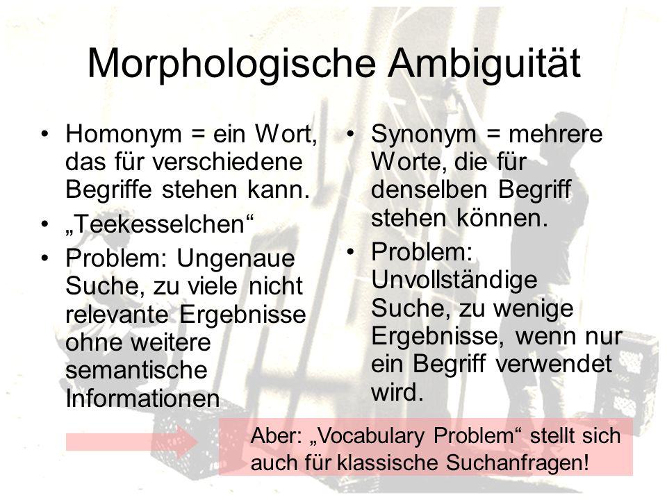 Morphologische Ambiguität Homonym = ein Wort, das für verschiedene Begriffe stehen kann.