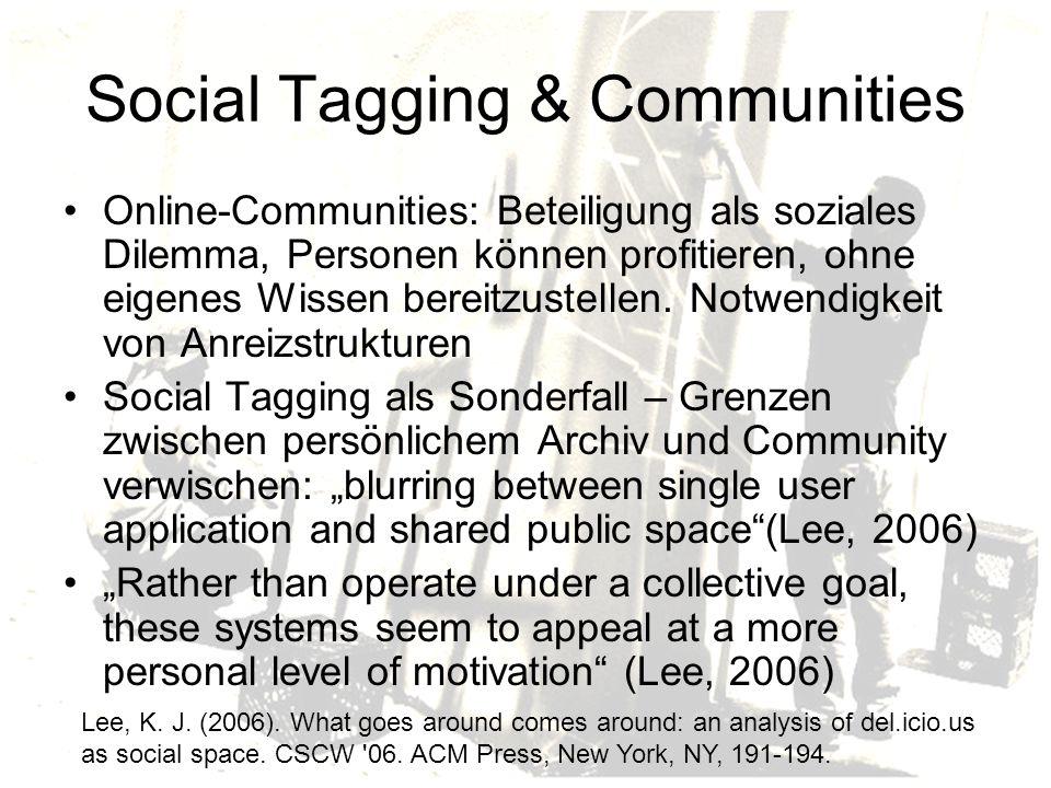 Social Tagging & Communities Online-Communities: Beteiligung als soziales Dilemma, Personen können profitieren, ohne eigenes Wissen bereitzustellen.