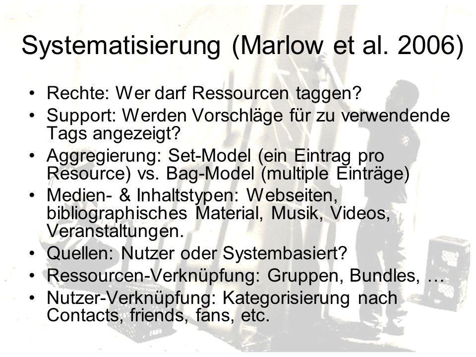 Systematisierung (Marlow et al.2006) Rechte: Wer darf Ressourcen taggen.